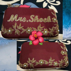 Customized Clutch With Both Side Embroidery Maroon (Delivery time 3-4 Weeks)