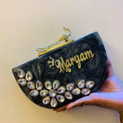 Half Moon Style Raisin Clutch (Delivery time 3-4 Weeks)
