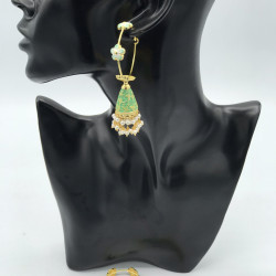 Green Hoops Earrings
