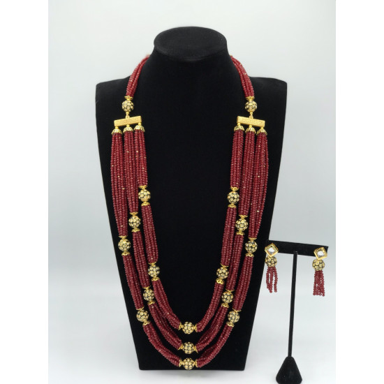 Adornet Necklace (Delivery time 3-4 weeks)This set is available for pre order basis.   These are onyx beads with round oxidized balls. Colour can be customized according to your choice. This set is one of our best seller.