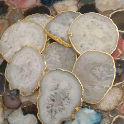 White Agate Coasters 6 Pieces